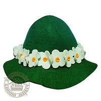 """""""Ромашка"""", шапка для бани (зеленый фетр)"""