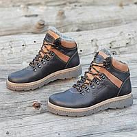 Мужские зимние ботинки стильные кожаные черные натуральный мех на толстой зимней подошве (Код: Б1306а)