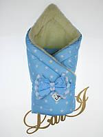 """Зимний конверт - одеяло """"Метелица"""" на овчине для новорожденного мальчика. Голубой, фото 1"""