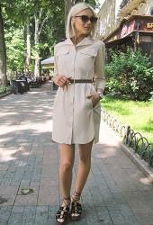 Платье-рубашка бежевое Viravi Wear, модель 1007