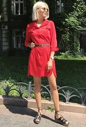 Платье-рубашка красное Viravi Wear, модель 1007