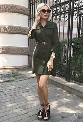 Платье-рубашка хаки Viravi Wear, модель 1007