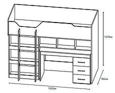 Детская кровать с лестницей и выдвижным столом Горка-2, фото 3