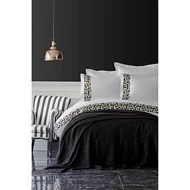 Набор постельное белье с пледом Karaca Home - Blaze siyah 2019-1 черный евро