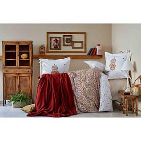 Набор постельное белье с пледом Karaca Home - Paula kiremit 2019-1 кирпичный евро