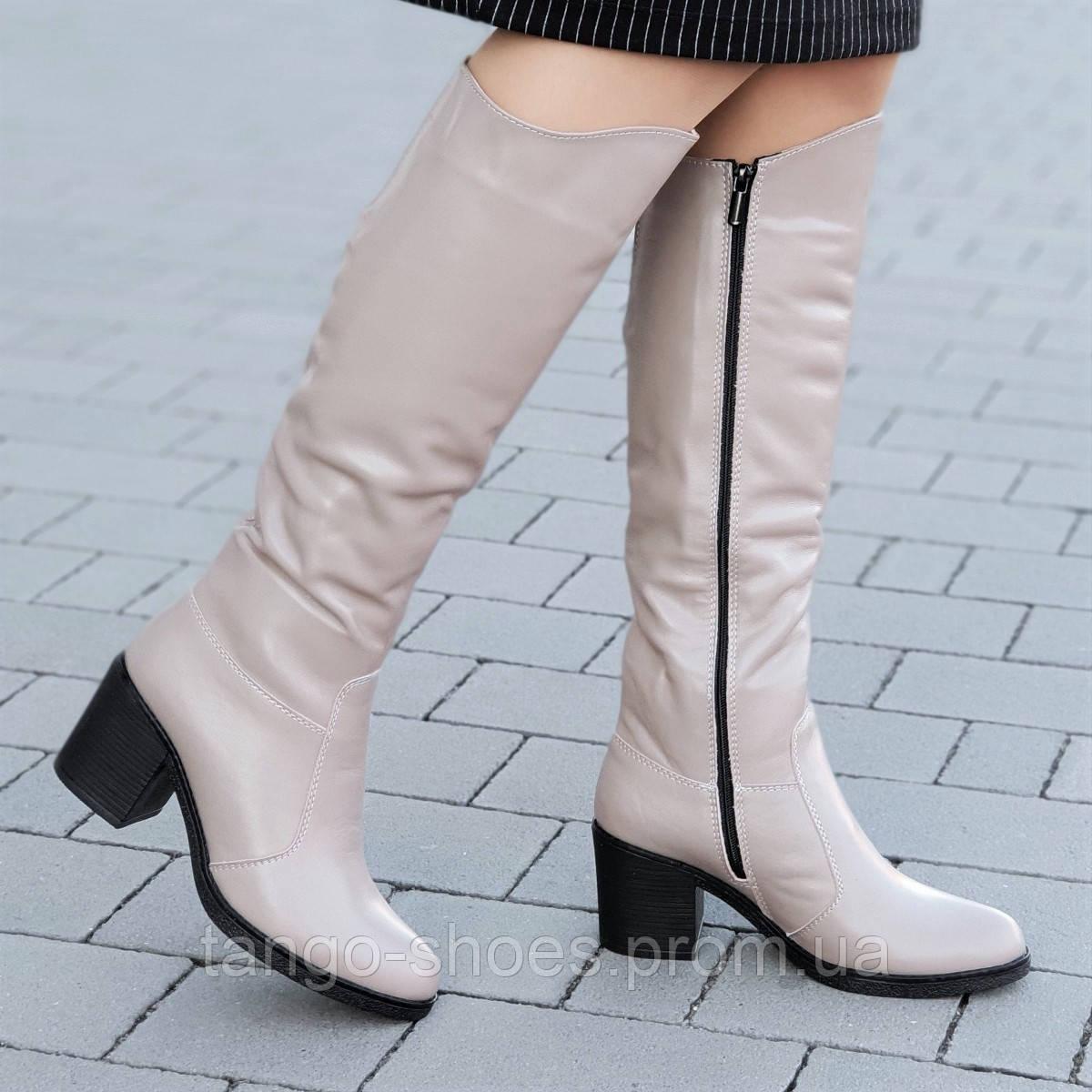 ac2fe8cc7 Женские зимние сапоги на широком каблуке кожаные бежевые удобная колодка  хороший плотный мех (Код: