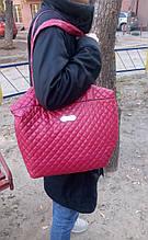 Сумка женская стеганая вишневая 010F