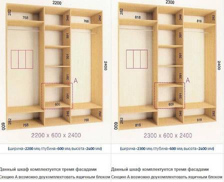 Шкафы-купе Стандарт (Глубина - 600мм; высота 2400мм) , фото 2