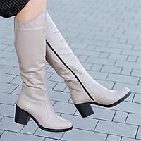 Женские зимние сапоги на широком каблуке кожаные бежевые удобная колодка хороший плотный мех (Код: Т1299а)