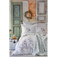 Набор постельное белье с покрывалом Karaca Home - Luminosa somon 2019-1 лососевый евро