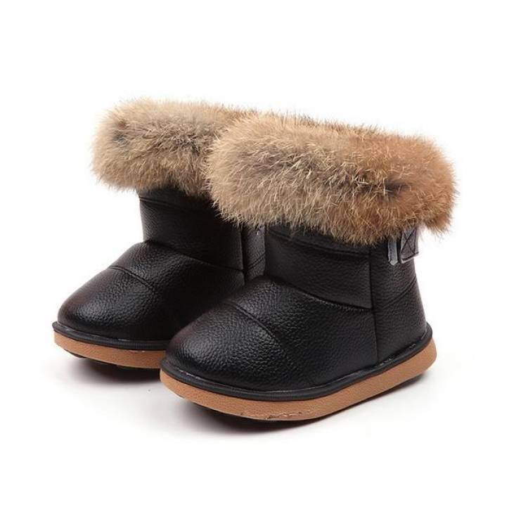 Ботинки дутики  детские зимние с мехом на девочку черные