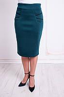 Трикотажная женская юбка за колено. Размеры 48 - 58