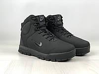 Ботинки зимние мужские в стиле Nike Karstman код товара 4S-1165. Черные