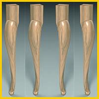 Изготовление классических гнутых ножек для стола, консоли из дерева. Форма кабриоль с двойным изгибом. 750 мм