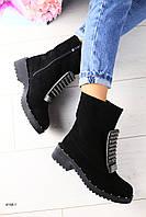 Женские зимниее замшевые ботинки