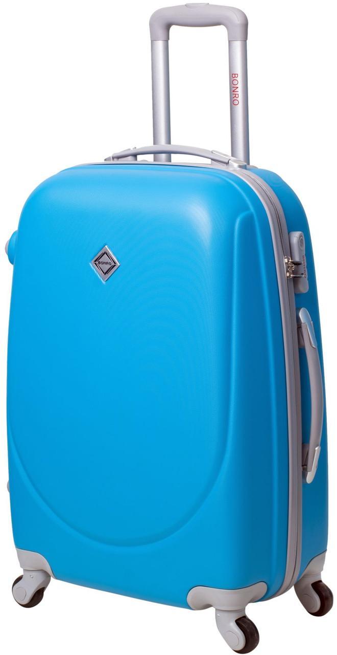 Пластиковый дрожный чемодан на колесах Bonro Smile маленький голубой (10052007)