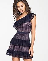 Женское платье из гипюра с воланами через одно плечо (5131-5130ie)