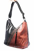 """Женская сумка-""""мешок"""" на одной ручке с коричневой вставкой"""