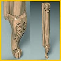 Ножка кабриоль с удлиненным основанием царги. Опора для шкафа, комода, кровати из дерева. 530 мм