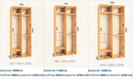 Шкафы-купе  Ультра (Глубина - 600 мм; высота - 2250мм), фото 2