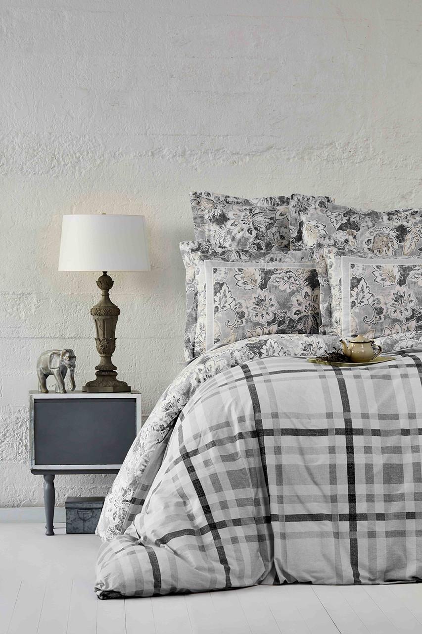 Постельное белье Karaca Home ранфорс - Plaid gri 2019-1 серый евро