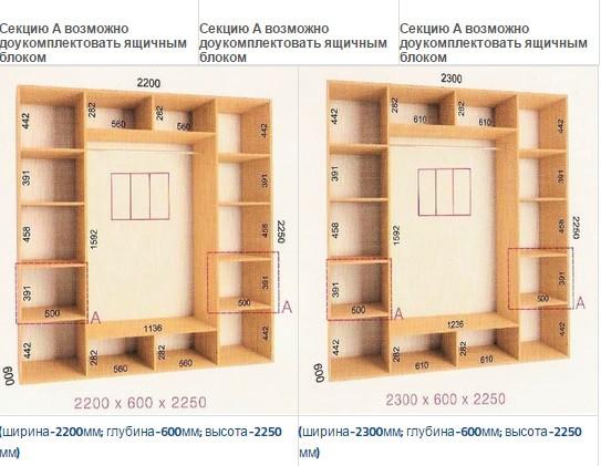 Шкафы-купе Ультра (Глубина - 600 мм; высота - 2250мм)