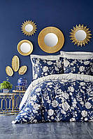 Постельное белье Karaca Home сатин - Elvira lacivert 2019-1 синий евро