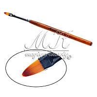 """Кисть для геля """"Starlet"""", овальный ворс, деревянная ручка №4"""