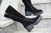 Сапожки на платформе женские зимние натуральная кожа, замша черные изысканые (Код: Ш893)
