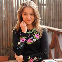 Женская вышиванка Букет с вышитым длинным рукавом | Жіноча вишиванка Букет з вишитим довгим рукавом, фото 1