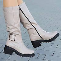 75f28505d Женские зимние сапожки на платформе кожаные бежевые на толстой тракторной  подошве стильные (Код: М1301