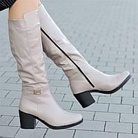 Женские зимние сапоги на широком каблуке кожаные бежевые удобная колодка мягкая резиновая подошва (Код: М1303)