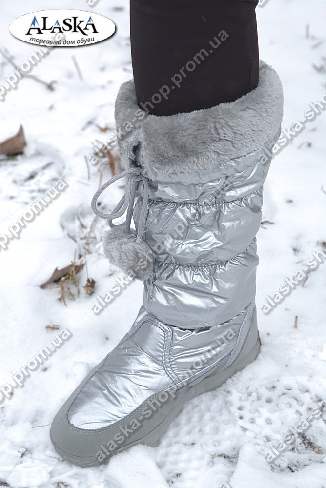 Женские сапоги серебристые (Код: А-03)