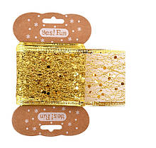 Лента декоративная 5 см*2 метра золотая Yes-fun