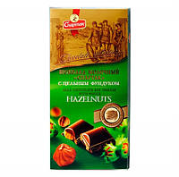 Шоколад  молочный с цельным фундуком Спартак  90 г Беларусь