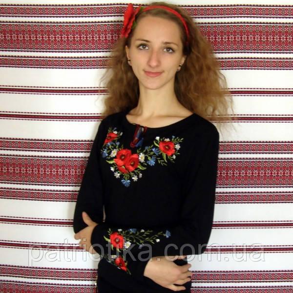 Женская вышиванка мак с васильками | Жіноча вишиванка мак з волошками