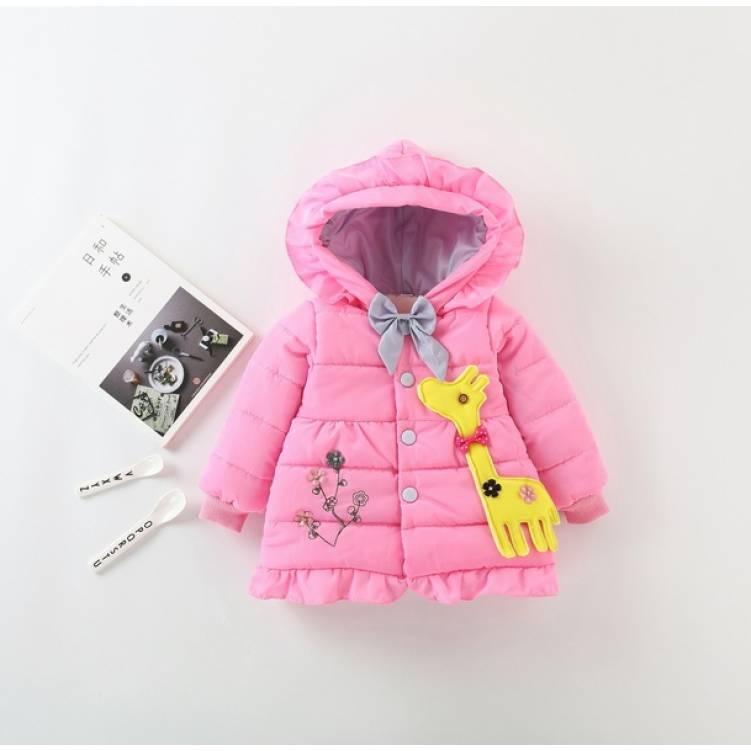Куртка детская демисезонная  на девочку с жырафиком  осень/еврозима 1-3 года