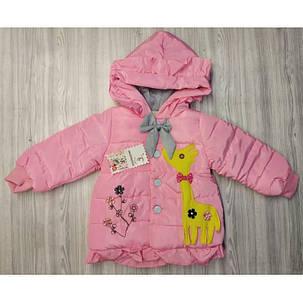Куртка детская демисезонная  на девочку с жырафиком  осень/еврозима 1-3 года, фото 2