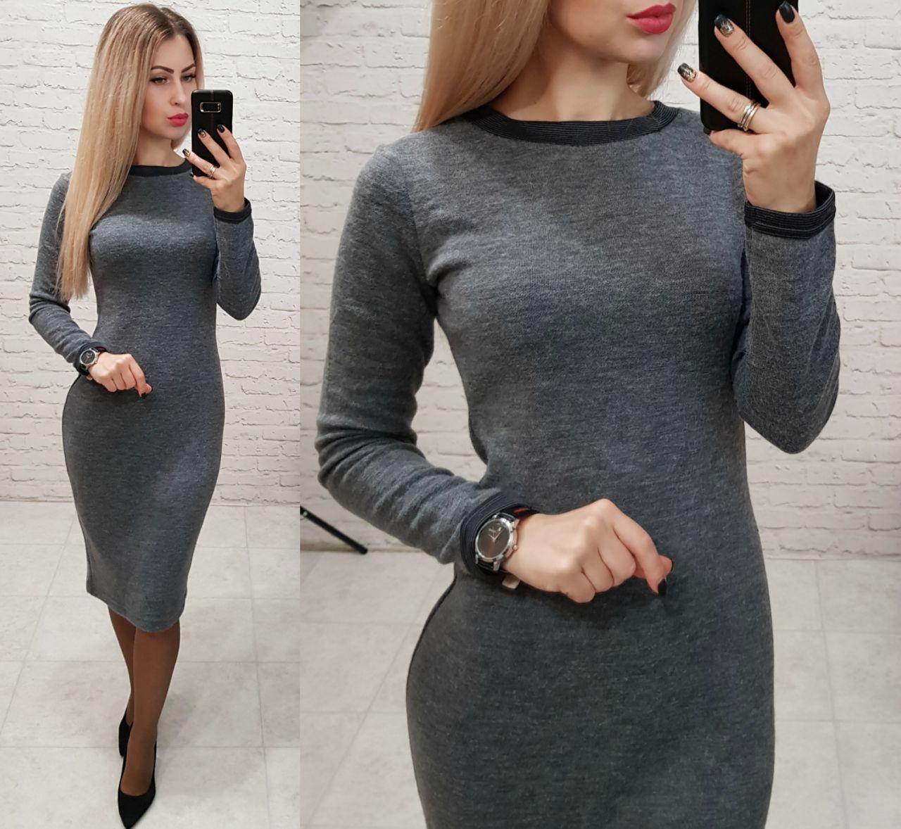 Платье (807) ангора софт, цвет серый