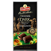 Шоколад  черный с цельным фундуком Спартак  90 г Беларусь