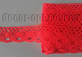 Мереживо натур. червоне 4см/15ярд S1009
