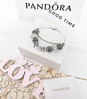 Стильныйженский браслет в стиле Pandora с шармами love