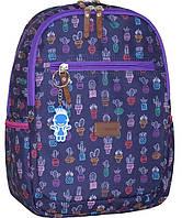 Рюкзак городской молодежный Bagland Young 13 л фиолетовый кактусы