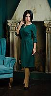 Стильное платье с складками зеленое