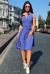 Платье-полоска электрик Viravi Wear, модель 1009