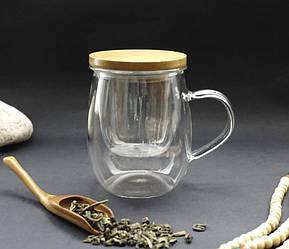 Стеклянная чашка с ситом 350 мл