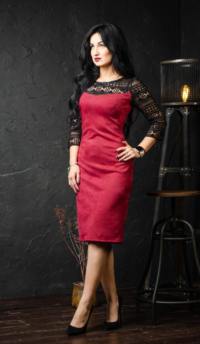 Шикарное платье с рукавами из кружева красное размер 44,46