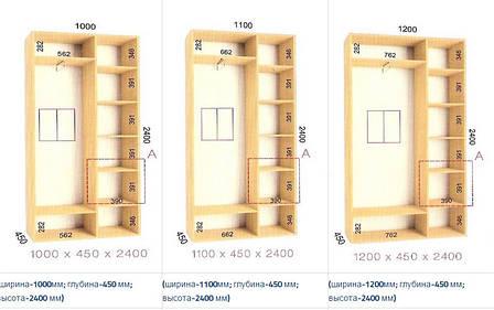 Шкафы-купе Стандарт (Глубина - 450 мм; высота 2400мм) , фото 2