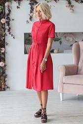 Платье-рубашка красное Viravi Wear, модель 1010