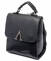 Женская сумка-рюкзак  из кожзаменителя (черная/рыжая/бордо)